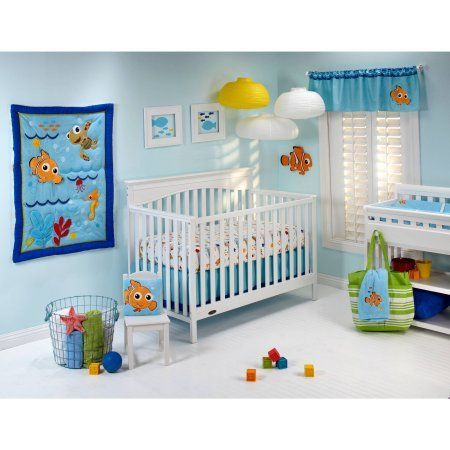 Disney Baby Bedding Nemo's Wavy Days 4-Piece Deluxe Crib Bedding Set, Multicolor