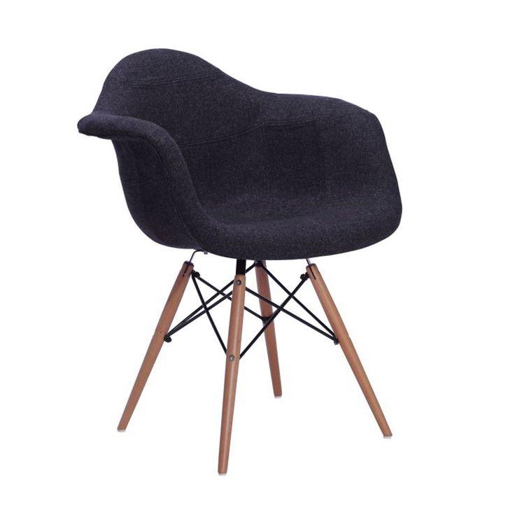 Chaise wooden arms tapiss e h tre noir id dko bureau for Chaise 5 5 designers