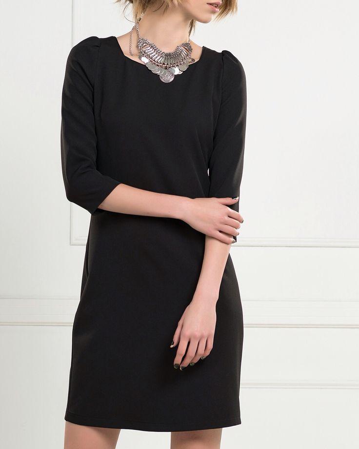 Truvakar Kol Fermuar Detaylı Siyah Elbise www.fashionturca.com