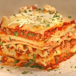 World's Best Lasagna. I use half the sugar that's called for and mix up the meat - 1/2 spicy 1/2 sweet Italian sausage, 1/2 lean ground beef, 1/2 sweet Italian sausage, etc.