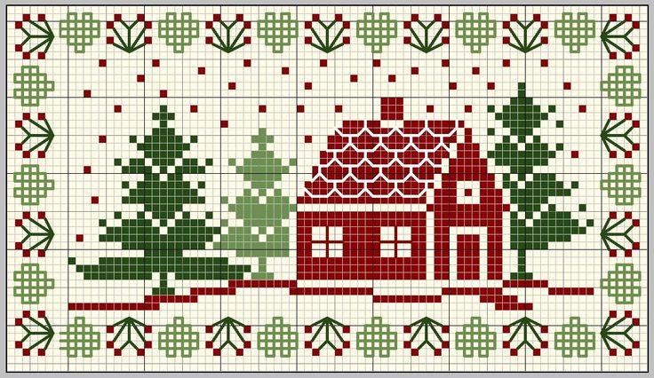 世界中のクロスステッチサイトからフリーチャートをご紹介。|モミの木と家のサンプラー|クロスステッチ フリーチャート.com