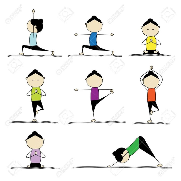 9778108 woman practicing yoga stock vector yoga cartoon