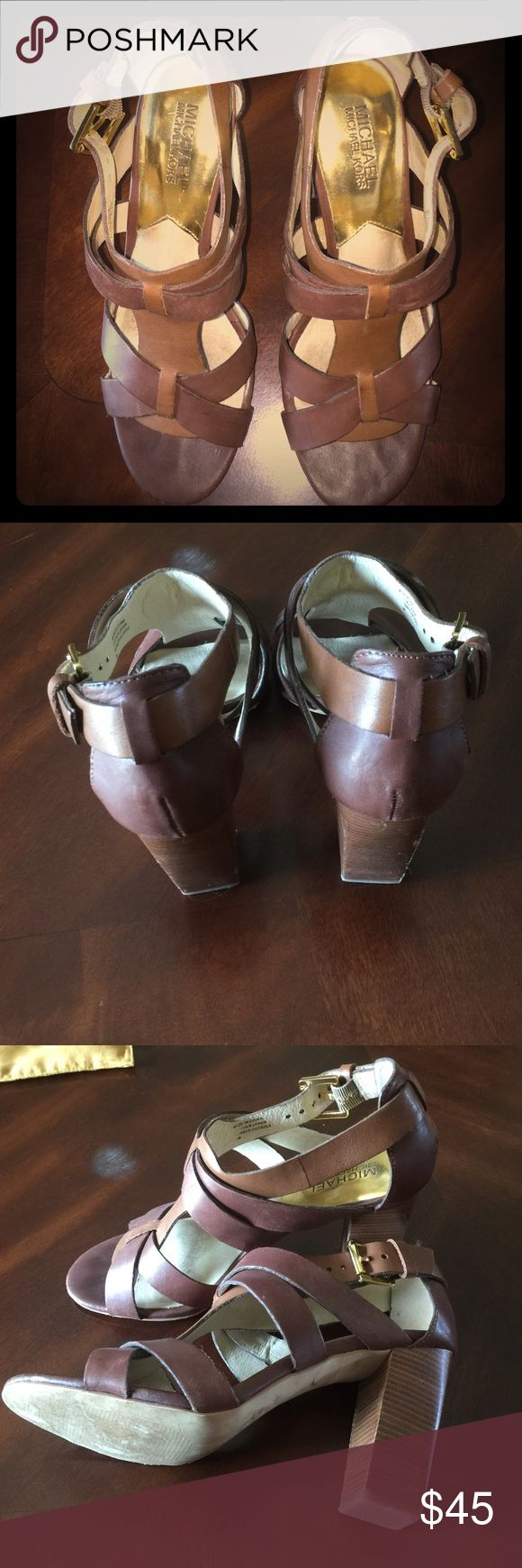 Michael Kors high hell sandals. Nice gently worn  with a block style 3 1/2 inch heel. Super cute. MICHAEL Michael Kors Shoes Heels