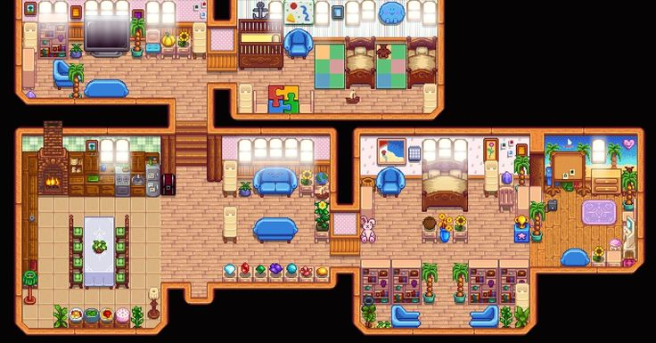I Married Haley So I Themed My House In Her Style Stardewvalley Stardew Valley Stardew Valley Layout Stardew Valley Farms