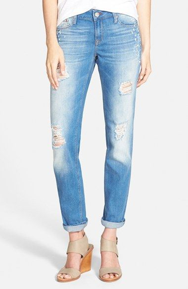 OWN: Mavi Jeans 'Emma' Distressed Boyfriend Slim Jeans (Aqua Painted Vintage) available at #Nordstrom and Stitchfix, loooove them!