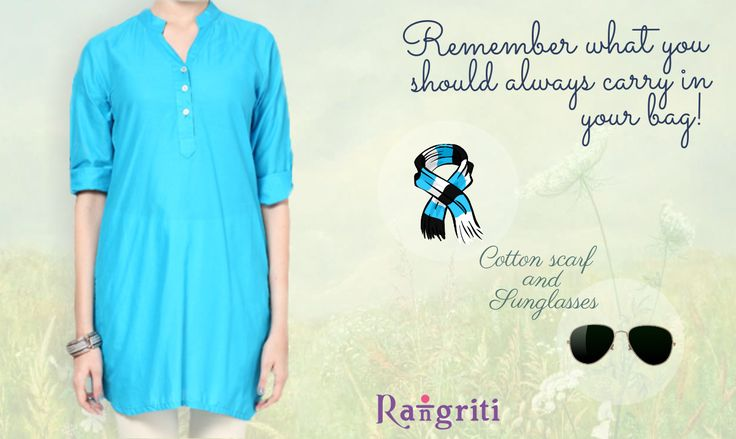List of Summer Essentials: Sunglasses, Cotton Scarf, Pretty Smile and Awesome Rangriti Kurta! Get this beauty here: http://buff.ly/1EAfU7X