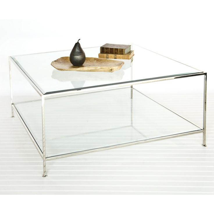 Square Coffee Table with Beveled Glass in Sleek Nickel by Worlds Away