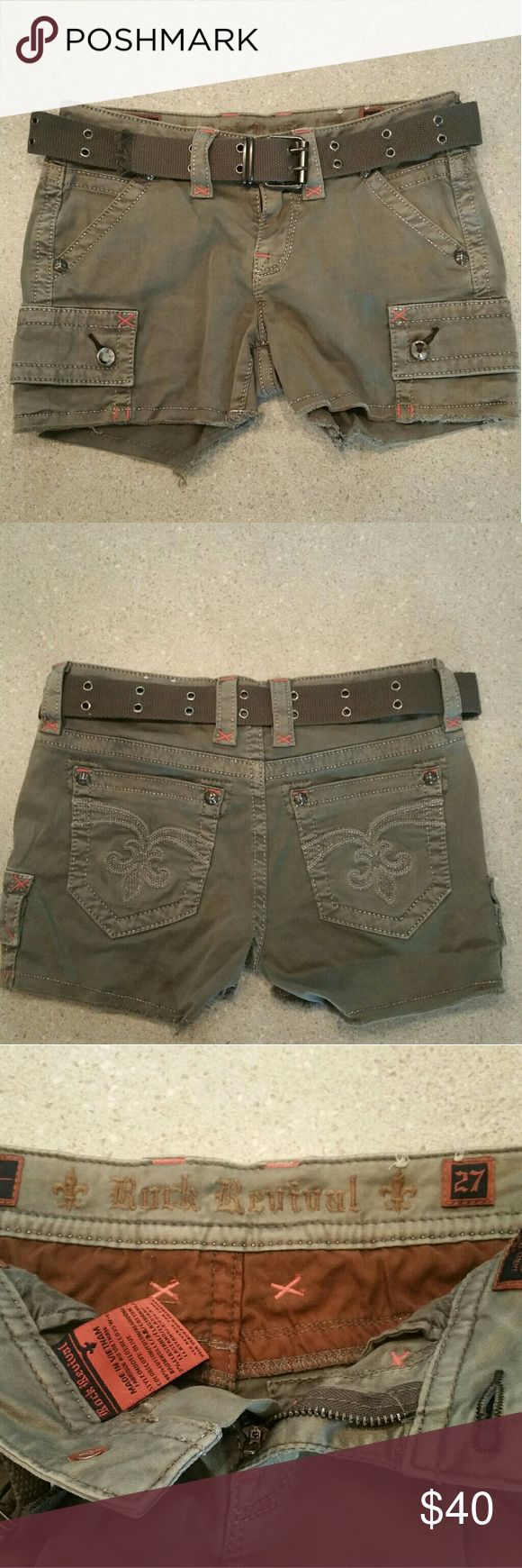 Ladies Rock Revival size 27 shorts Excellent condition Rock Revival shorts purchased from the buckle. There is no stains or holes in them. The stones are not damaged always washed inside out and dried flat! The belt is missing one metal rivet see photo above. Thanks for viewing and happy shopping! Rock Revival Shorts Cargos