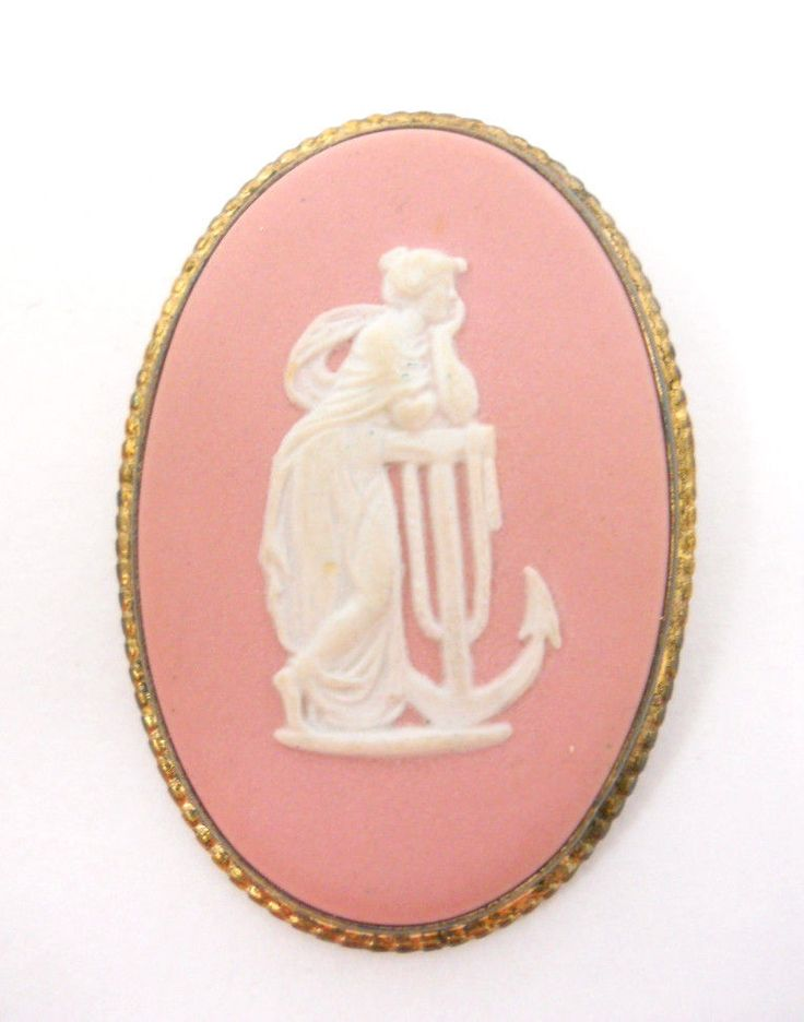 Wedgwood Cameo Brooch Pin Hope & the Anchor Muse of Music Polymnia Box Vintage #Wedgwood