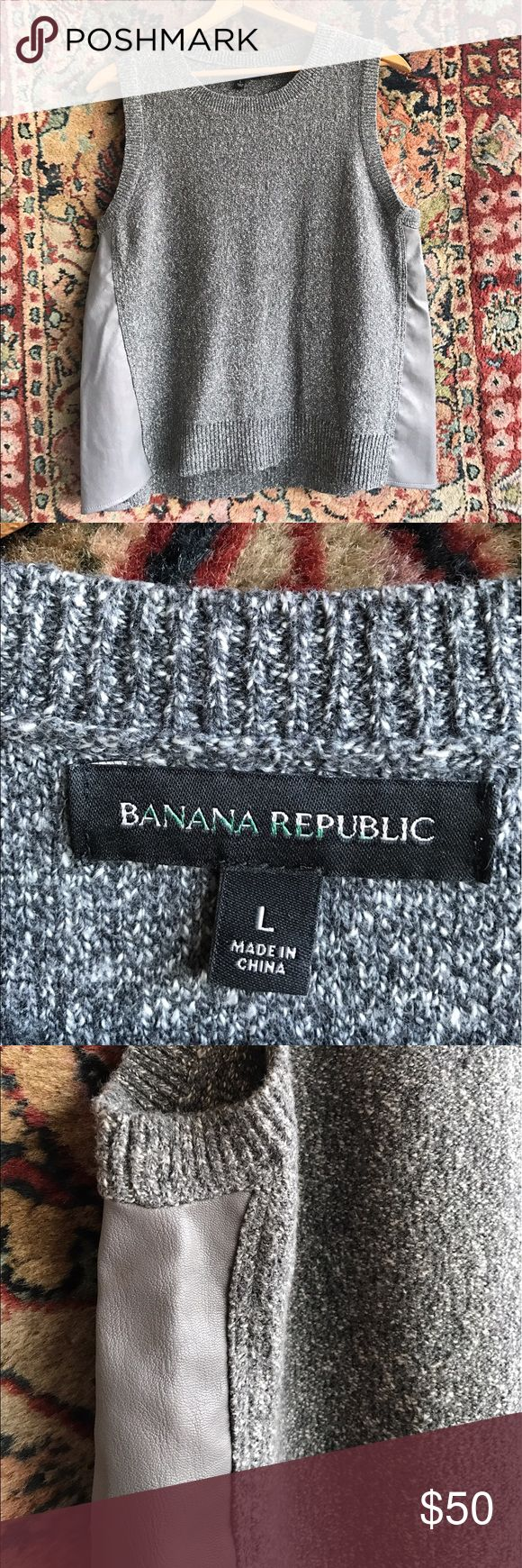 "Banana Republic Marled Sweater Unique and in excellent condition. Leatherette strips in side of a soft marled sweater. From weekends to work! 20"" underarm to underarm and 25"" L Banana Republic Sweaters"