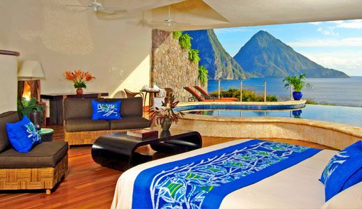 "St Lucia's ""Jade Mountain Resort"".  Amazing!  I got to sight this resort when it was still under construction and all I can say is WOW!  Yes,  your room is open air with private infinity edged pool with amazing views!"