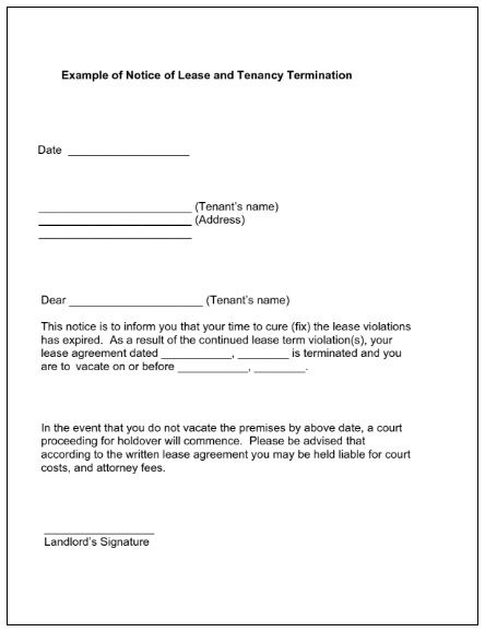 lease termination notice templates