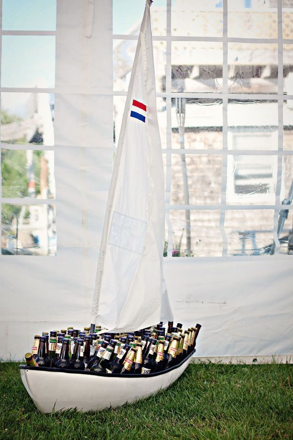 Sailboat cooler! What a perfect touch for a nautical wedding!