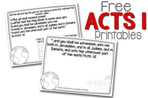 Free scripture printables for memorizing Acts chapter 1.