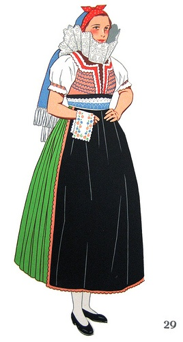 Dress as worn in Uherskv Brod, Slovakia - Oh to be in Slovakia!