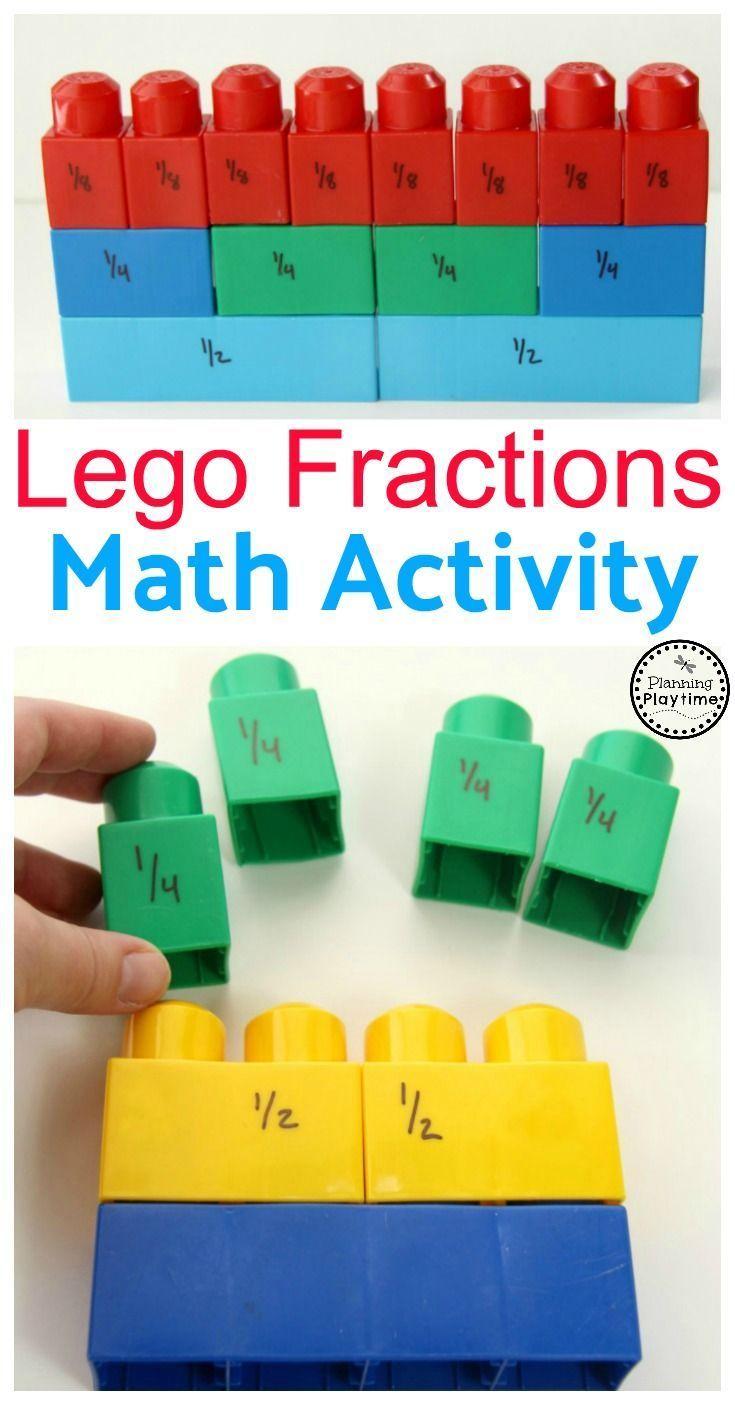 Lego Fractions Math Aktivität für Kinder. So viel Spaß! Mehr über Mathe und Lernen …   – Mathematikunterricht