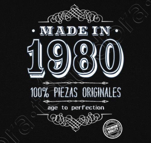 Camiseta Made in 1980. - nº 1261438 - Hombre, manga corta, negra, calidad extra. Sol's 190 gr/m2: 100 algodón semipeinado, 24/S hilo Ring Spun de calidad superior. Algodón preencogido. Tapacosturas reforzado en el cuello. Dis