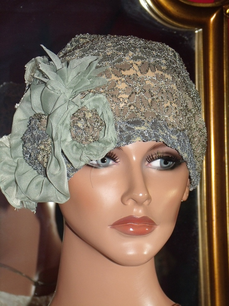 Flapper Hat Cloche Church Daytime 1920 style Personalized  Lace SageGrayBrown Headdress Millinery ArtWork. $49.99, via Etsy.