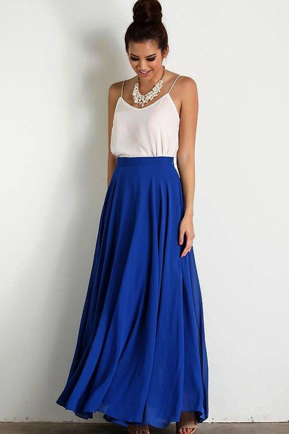 99567b194d Bridesmaid Skirt, Long Royal Blue Chiffon Maxi Circle Skirt in 2019 ...