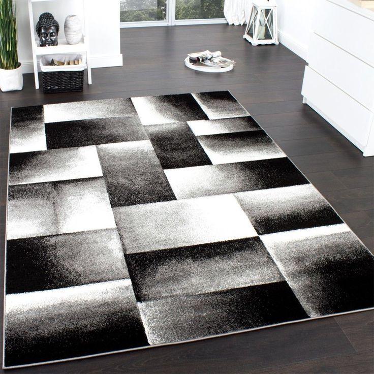 Designer Teppich Modern Trendiger Kariert Muster Grau Schwarz Meliert In Mbel Wohnen Teppiche