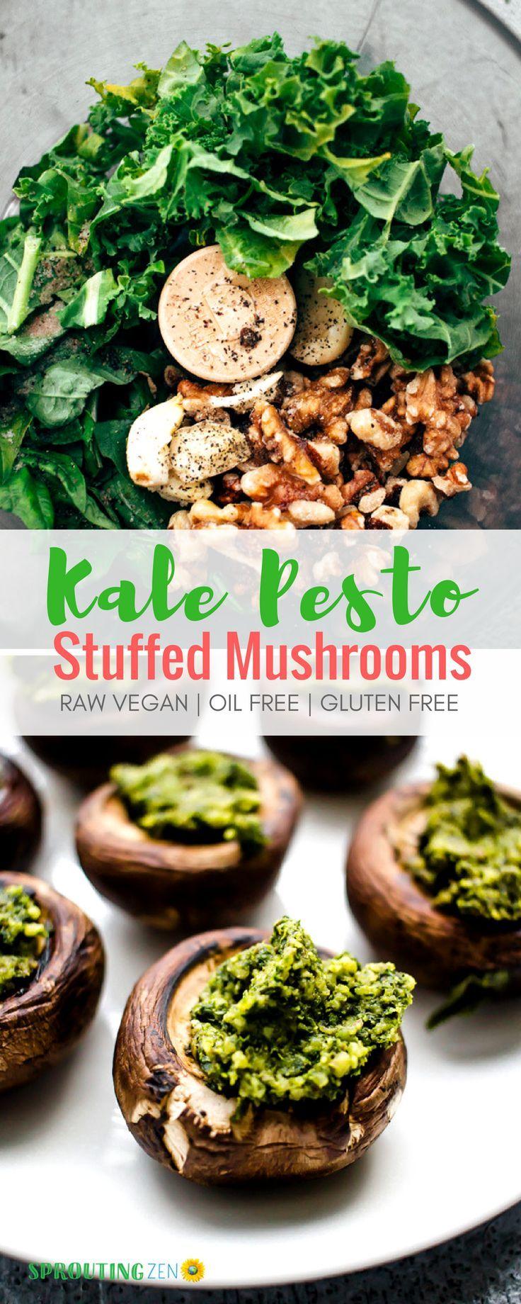 Oil Free Vegan Kale Pesto Stuffed Baby Mushrooms Sproutingzen Recipe Oil Free Vegan Recipes Oil Free Vegan Vegan Apps
