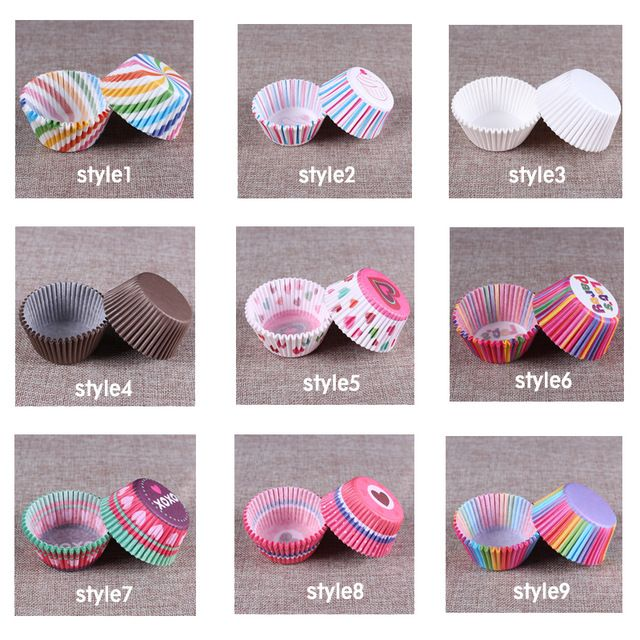 200pc Paper Cake Forms Cupcake Liner Baking Muffin Box Cup Case