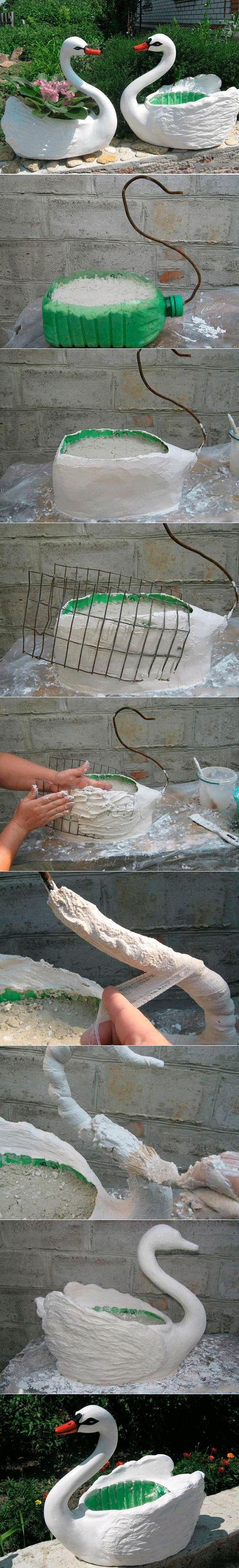 Fab Art DIY Plastic bottle swan planter