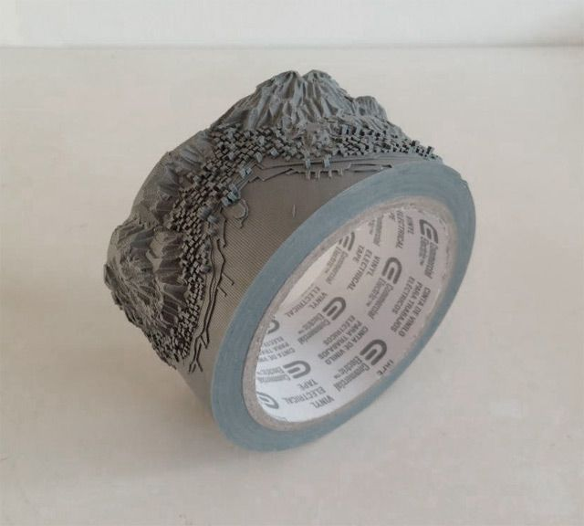 Out of Disorder: Topographical Maps Carved from Electrical Tape and Intricate Thread Sculptures by Takahiro Iwasaki