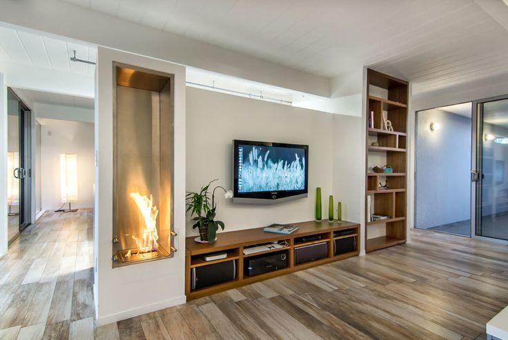 Long Media Cabinet Family Room Midcentury with Ecosmart Ecosmart Fireplace Fireplace