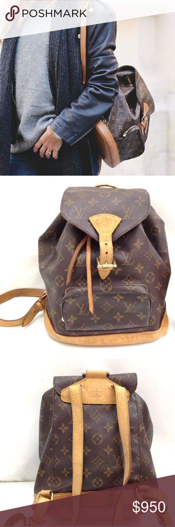 Auth Louis Vuitton Montsouris MM Backpack Bag Bags