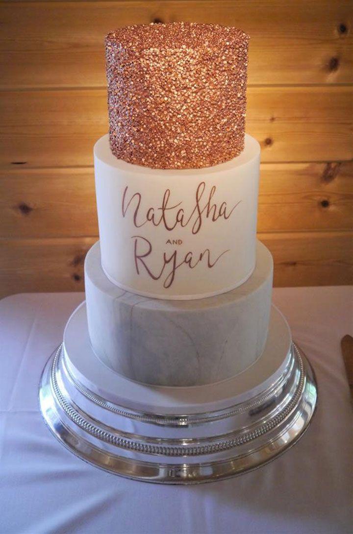 Moderne Rose Gold & Marmor Hochzeitstorte   – Cake Designs