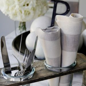 Wheat coloured stripe linen and cotton napkins from www.wongaroad.com.au
