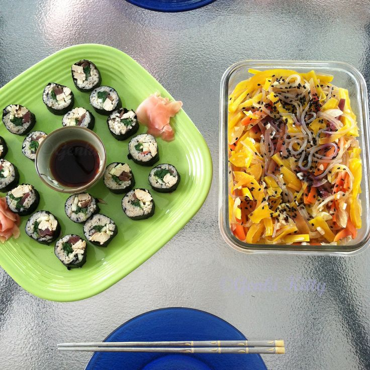 Vegan Korean Gimbap and Chapchae