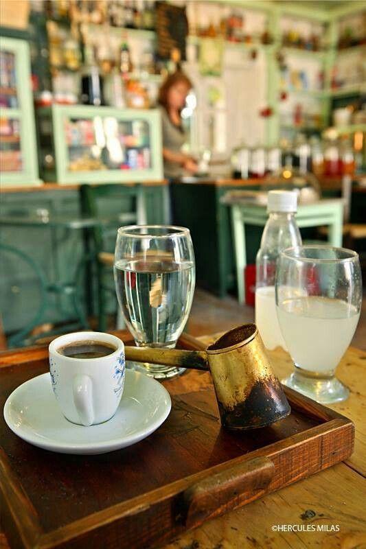 Coffee and tsitsibyra (ginger beer) at Magazia kafenion on Paxos Island