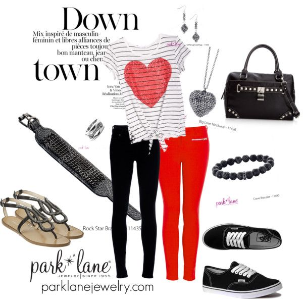 Downtown, created by parklanejewelry on Polyvore  Park Lane Jewelry featured: Big Love necklace, Glitter Girl earrings, Rockstar bracelet, Onyx bracelet & Diamond Dust ring: Glitter Girl, Love Necklace