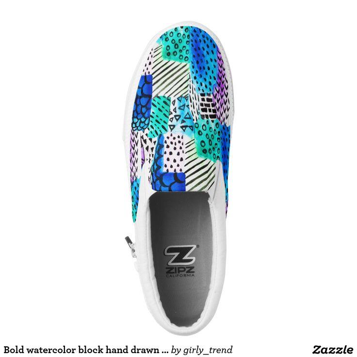 Bold watercolor block hand drawn pattern printed shoes