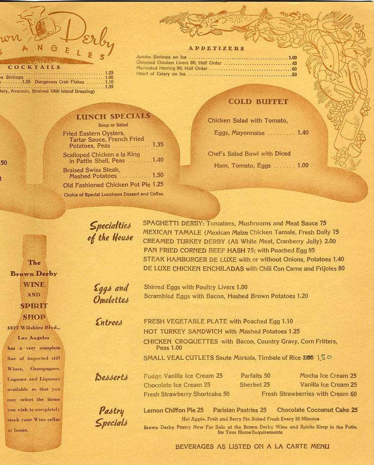 The Brown Derby lunch menu, 1948.
