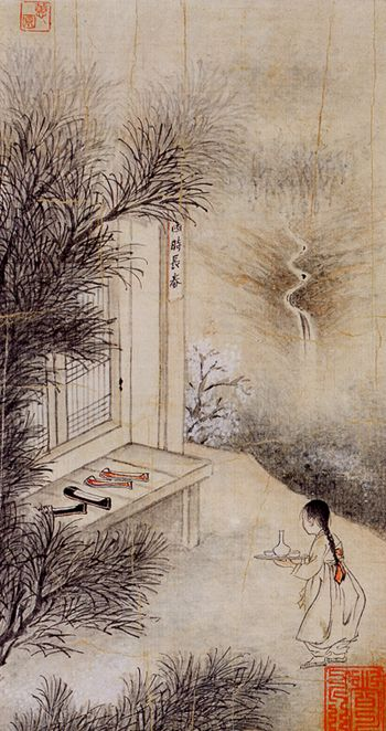 (Korea) Brings Wine by Hyewon Shin Yun-bok. ca 18th century CE. color on paper. 27.2×15.0cm. National Museum of Korea. 사시장춘.