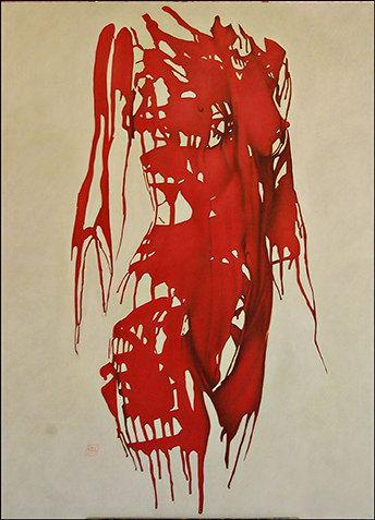 © Gabriel Maldonado Yepes, Torso femenino rojo, óleo sobre lienzo, 130 x 170 cm, 2011 + PA #BAC #arte #contemporaneo #pintura #emocion # #contemporary #art #emotion