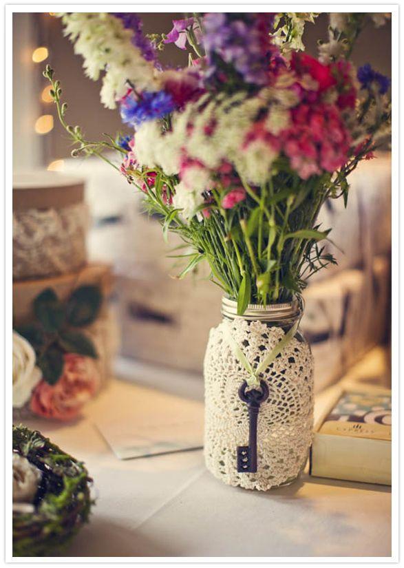 Crochet-adorned mason jars as vases!bcountry #wedding