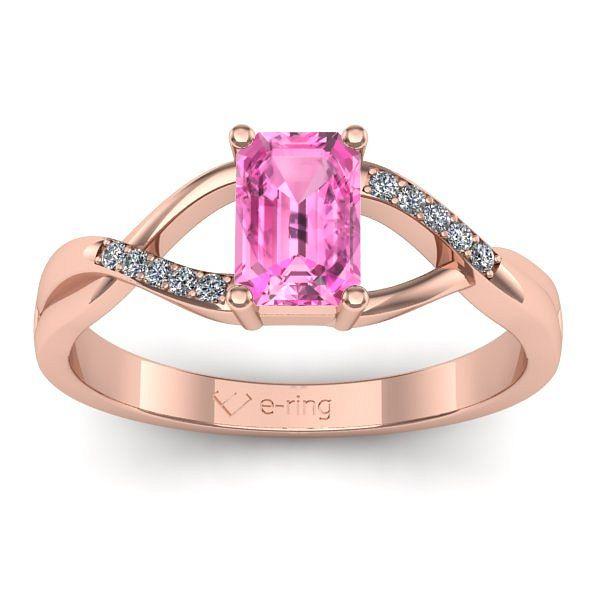 Inel logodna L145RSR cu safir roz si diamante