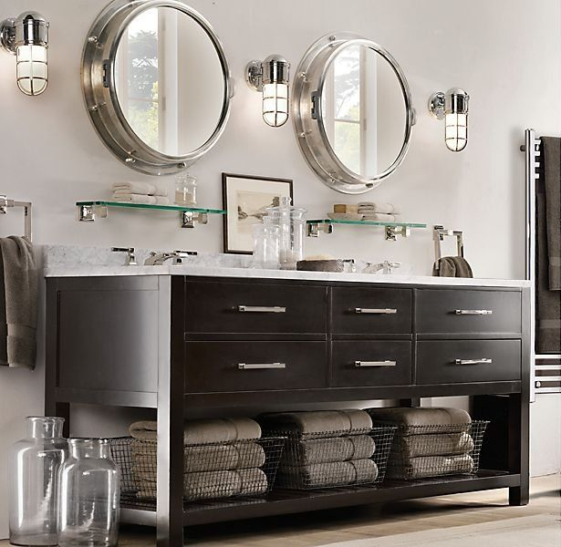 Restoration hardware bathroom bathroom ideas pinterest for Restoration hardware round mirror