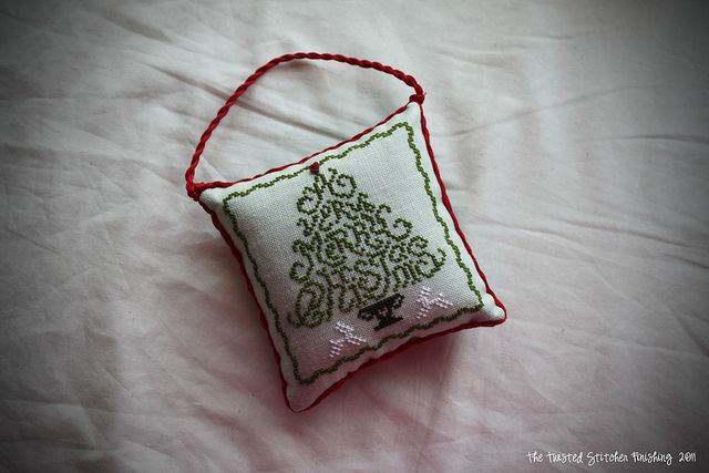 Tutorial on How to Turn Your Stitchery into A Pillow Ornament by The Twisted Stitcher: