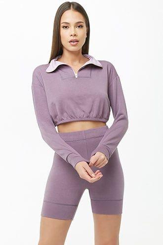 Fleece Pullover & Biker Shorts