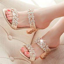 Bling para mujer sandalias verano zapatillas de punta abierta sandalias del partido gruesos zapatos de tacones altos mujeres Rhinestone oro rojo talla 34-39 LC05-A(China (Mainland))
