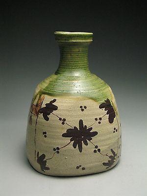 Vintage Japanese Mizusashi Oribe Pottery Tea Ceremony Ikebana Flower Vase