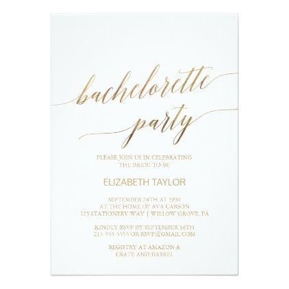 Bachelorette Party Invitations Elegant Gold Calligraphy Card