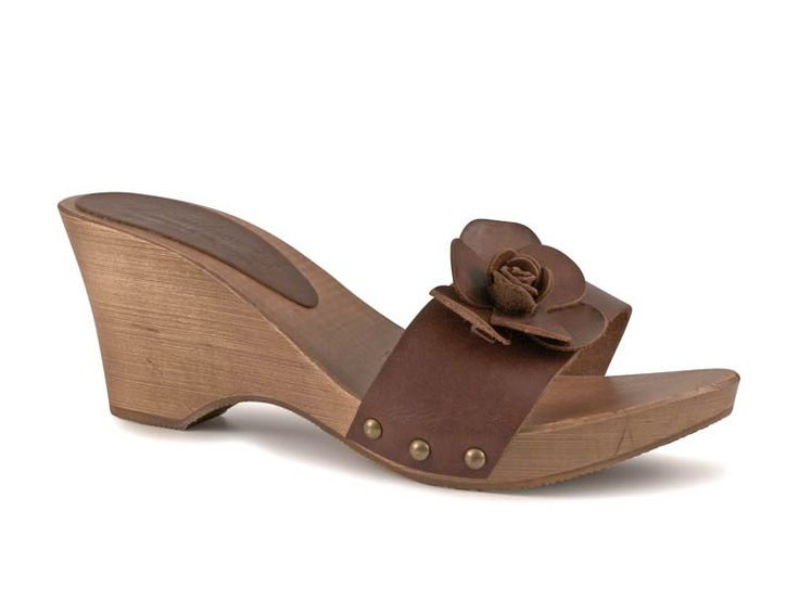 Dark brown leather clogs for women with leather flower - Italian Boutique $64