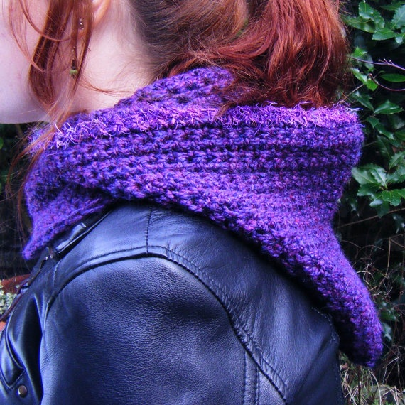 Handmade Crochet Hooded Cowl  Purple with silk trim by Corcra, €40.00
