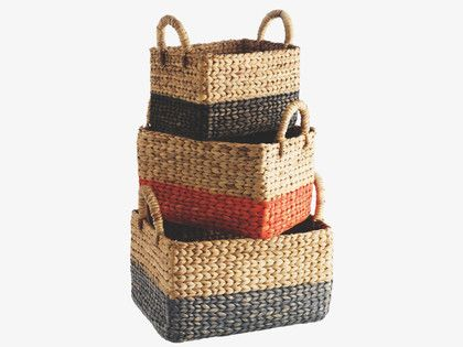 COBY MULTI-COLOUR Water hyacinth Set of 3 rectangular water hyacinth baskets - HabitatUK